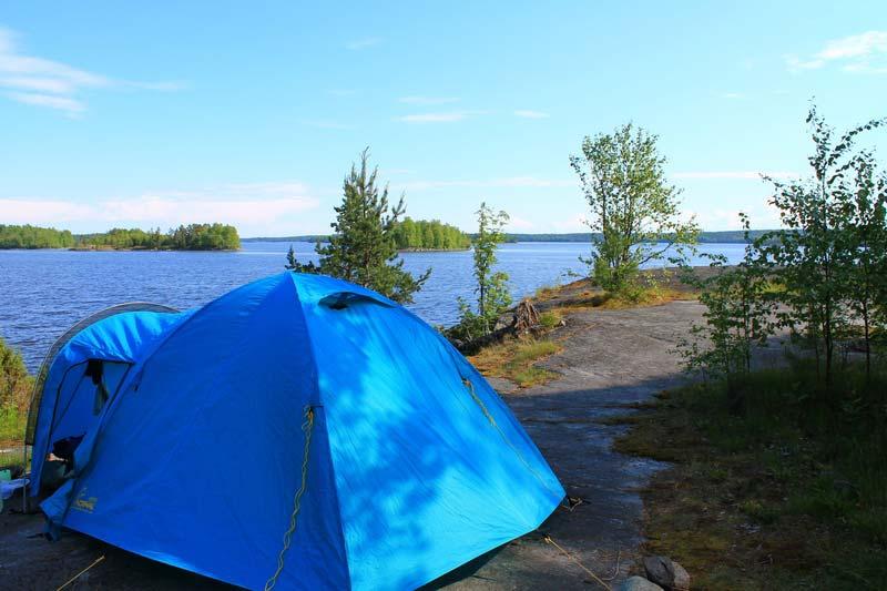 на ладогу с палаткой