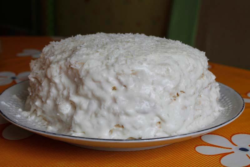 торт без выпечки со-сливками