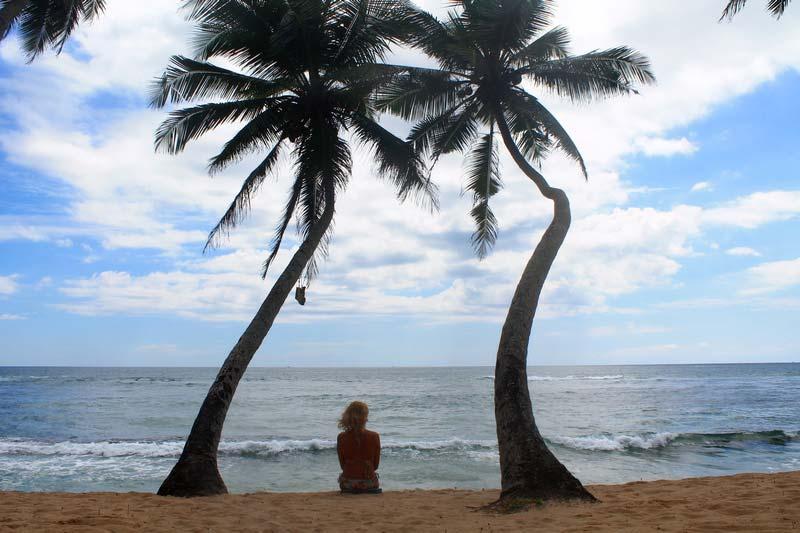 пальмы девушка море