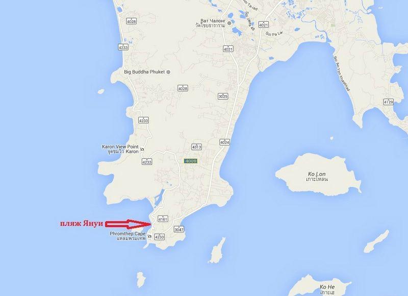 Пхукет пляж Януи на карте