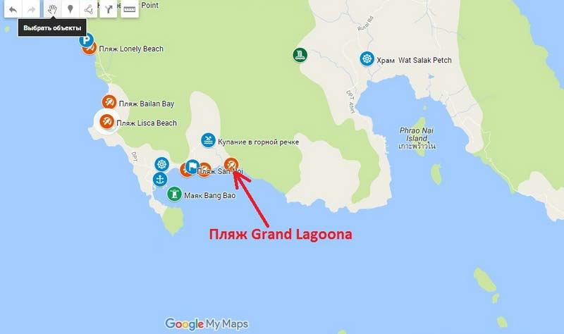 Пляж-Grand-Lagoona на карте