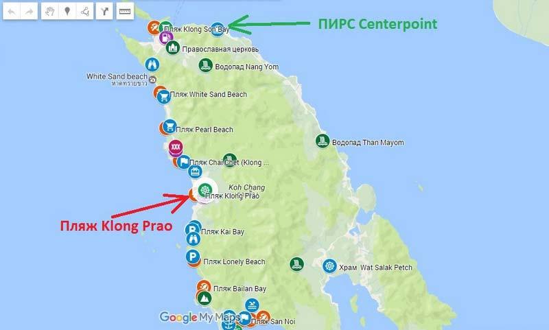Пляж-Klong-Prao на карте