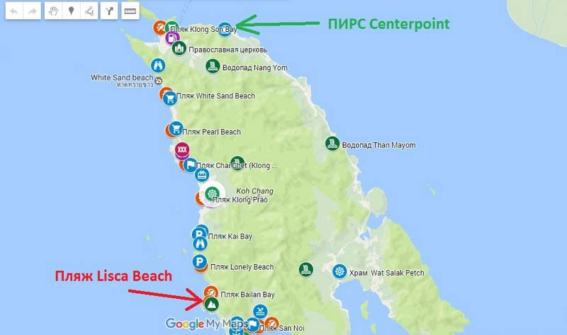 Пляж-Lisca-Beach на карте