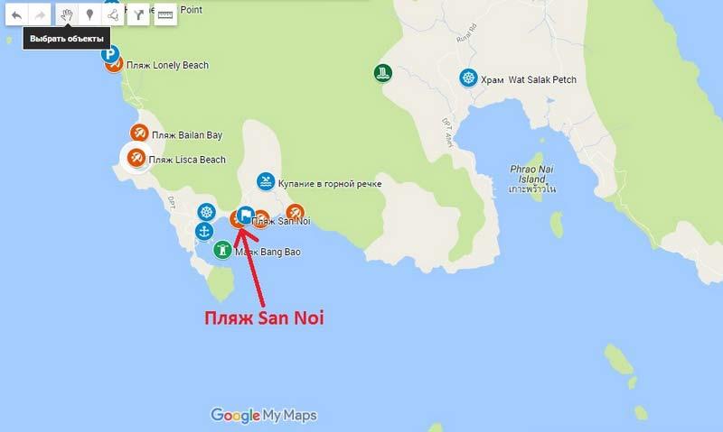Пляж-San-Noi на карте