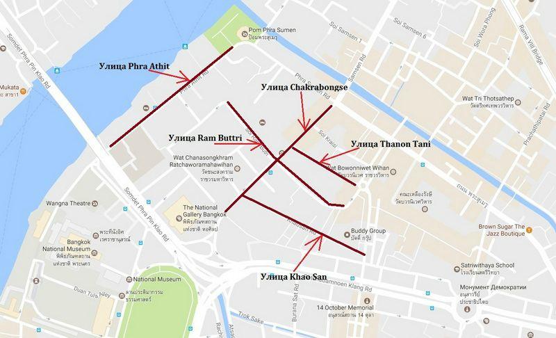 карта каосан улицы рестораны 1