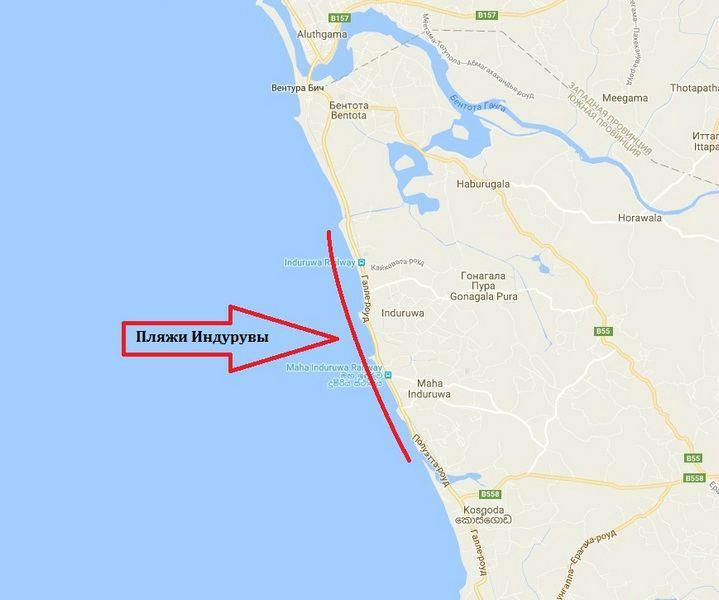 Пляжи Индурувы на карте