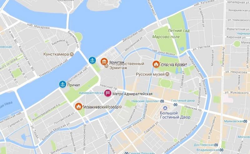 достопримечательности Петербурга на карте