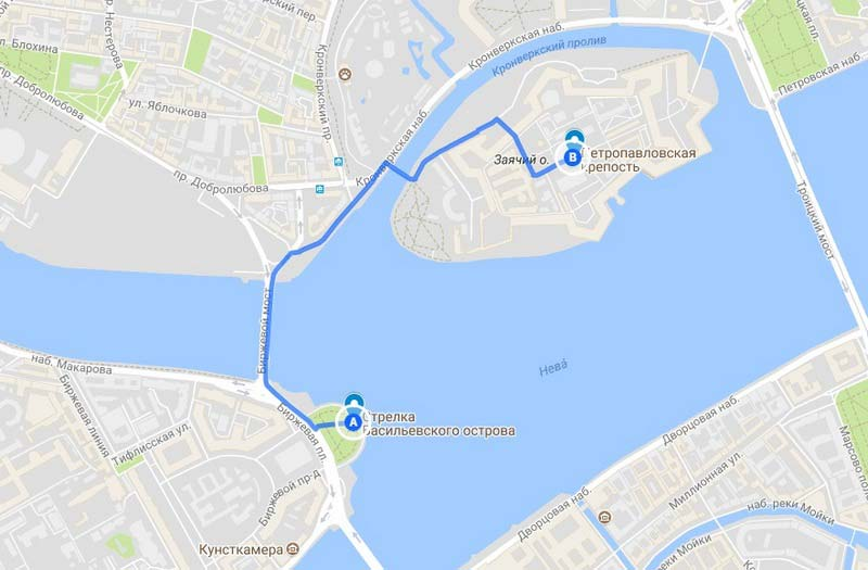 5 Карта аршрута по Петербургу