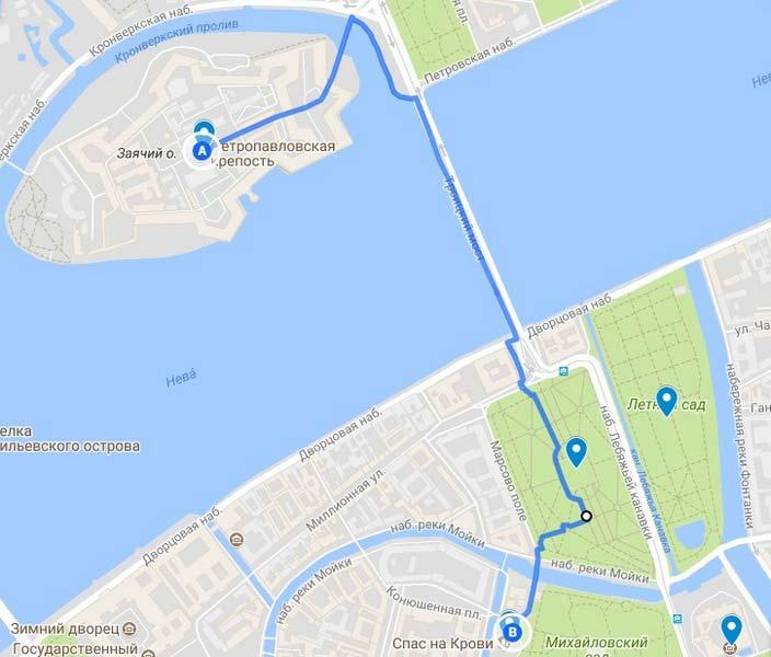 6 Карта аршрута по Петербургу