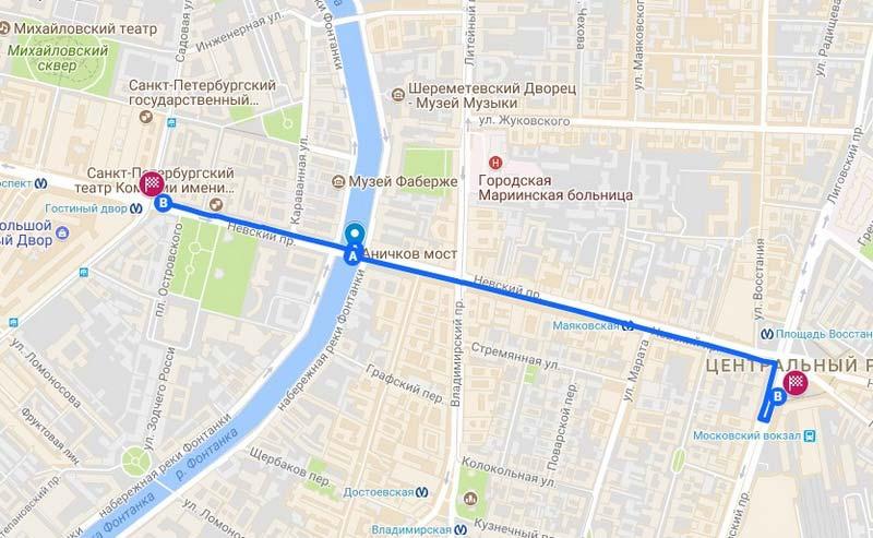 9 Карта аршрута по Петербургу