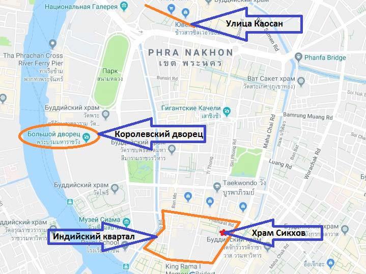 Индийский-квартал-на-карте-Бангкок