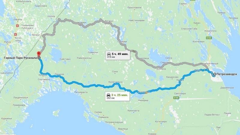 маршрут от Петрозаводска до Рускеалы