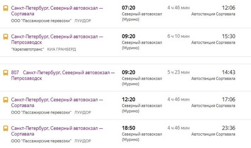 расписание автобуса Петербург Сортавала
