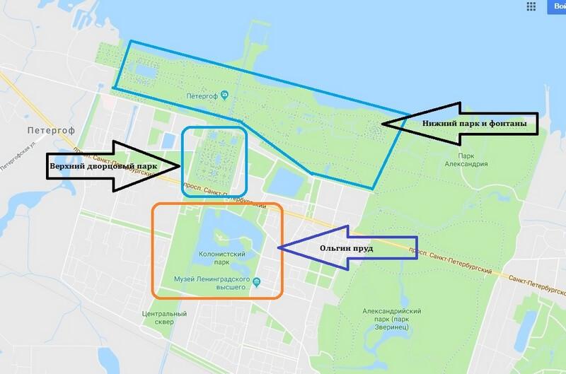 Петергоф Ольгин пруд на карте