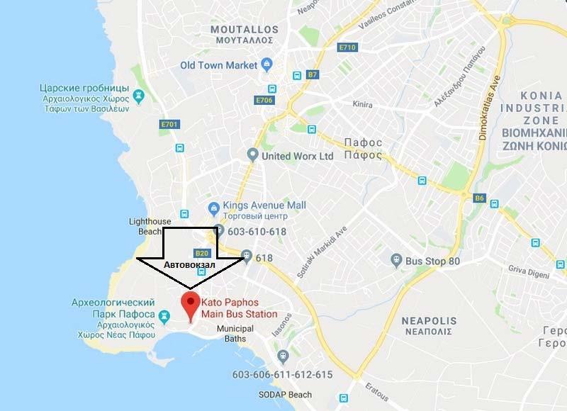 Автовокзал-Пафоса-на-карте