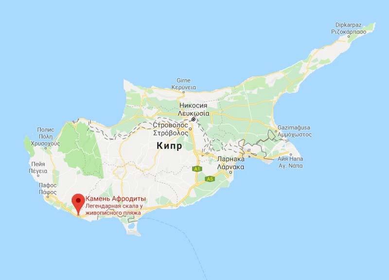 Бухта Афродиты на карте Кипра