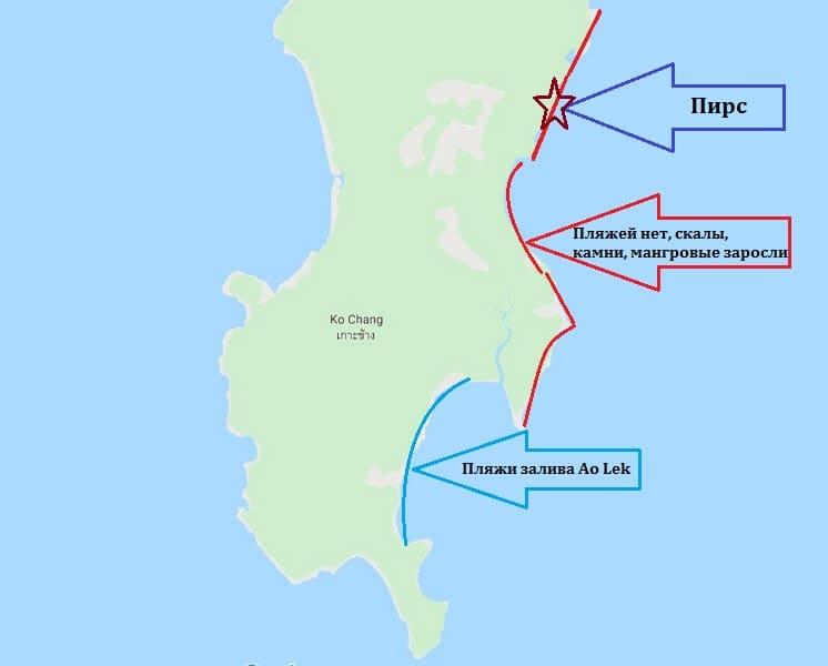 Восточные пляжи Ко Чанга карта