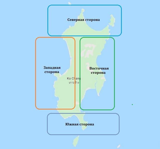Карта пляжей острова Ко Чанг