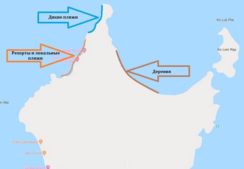 Карта северной части Ко Чанг Ранонг