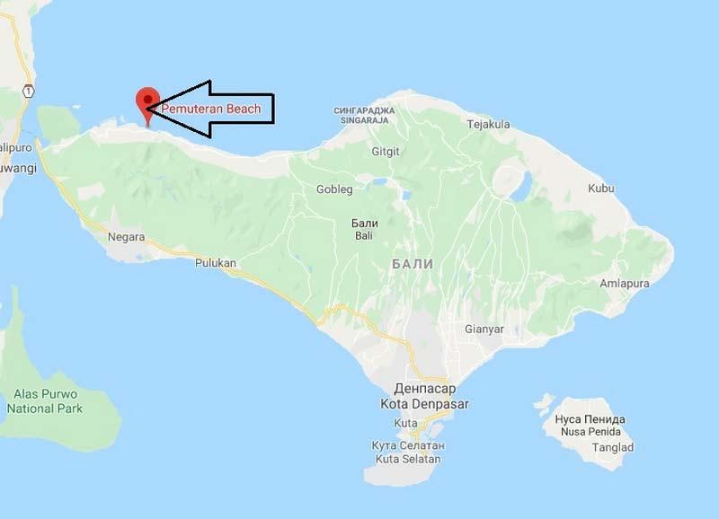 пляж Пемутеран на карте